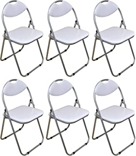 folding desk chair uk. harbour housewares white padded, folding, desk chair - pack of 6 folding uk i