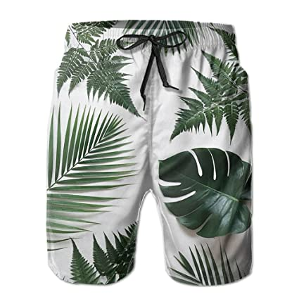 DIMANNU Mens Shorts Summer Casual Swim Trunk Quick Dry Classic Plants Palm Printed Beach Shorts with Pockets