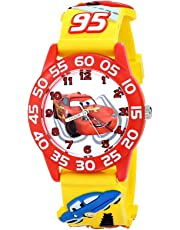 "Disney Kids 'w001509 ""time Teacher"" 3d Cars reloj con banda de plástico amarillo"