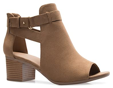 4664a29cd Amazon.com: OLIVIA K Women's Peep Toe Side Cutout Buckle Zipper Closure Stacked  Heel Ankle Boot Bootie: Shoes