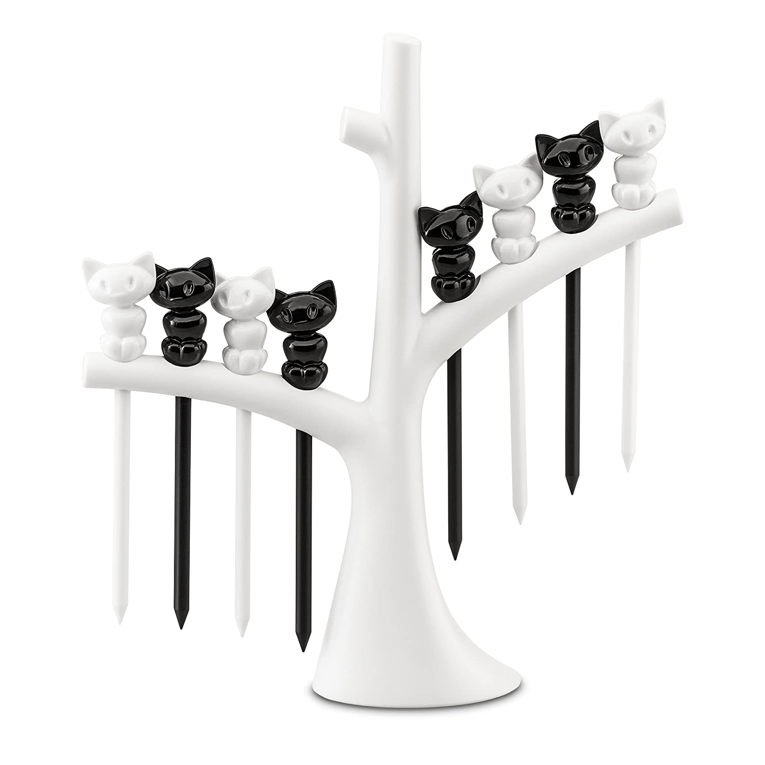 Koziol hors d'oeuvres forks with tree Miaou, thermoplastic, white with black, 4 x 17 x 19.2 cm 3134417