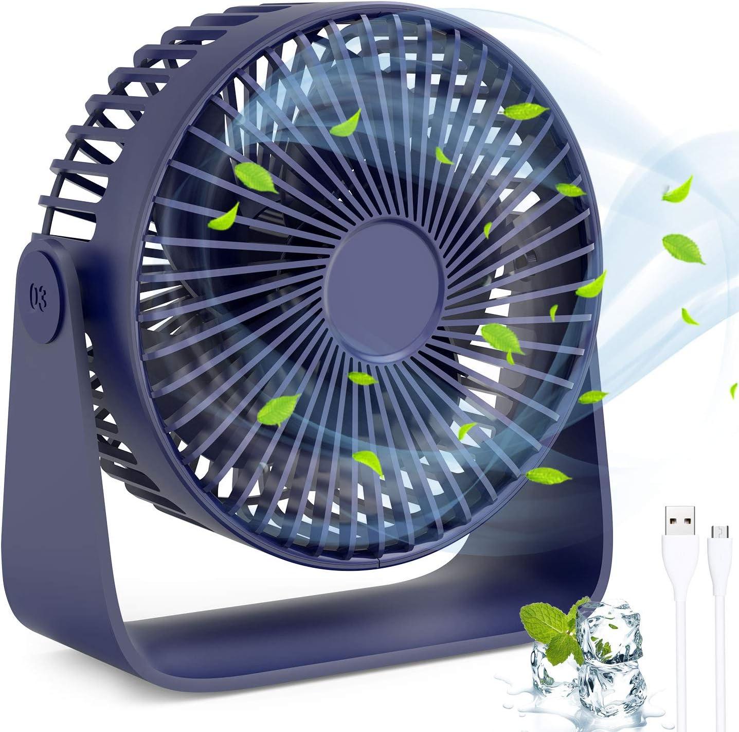 TedGem Mini Ventilador USB, Ventilador de Mesa 360 ° Rotación, Ventilador USB Silencioso Puede Poner Aceites de Aromaterapia, 3 Ajustable Velocidades para el Hogar, Oficina, USB Alimentado(Azul)