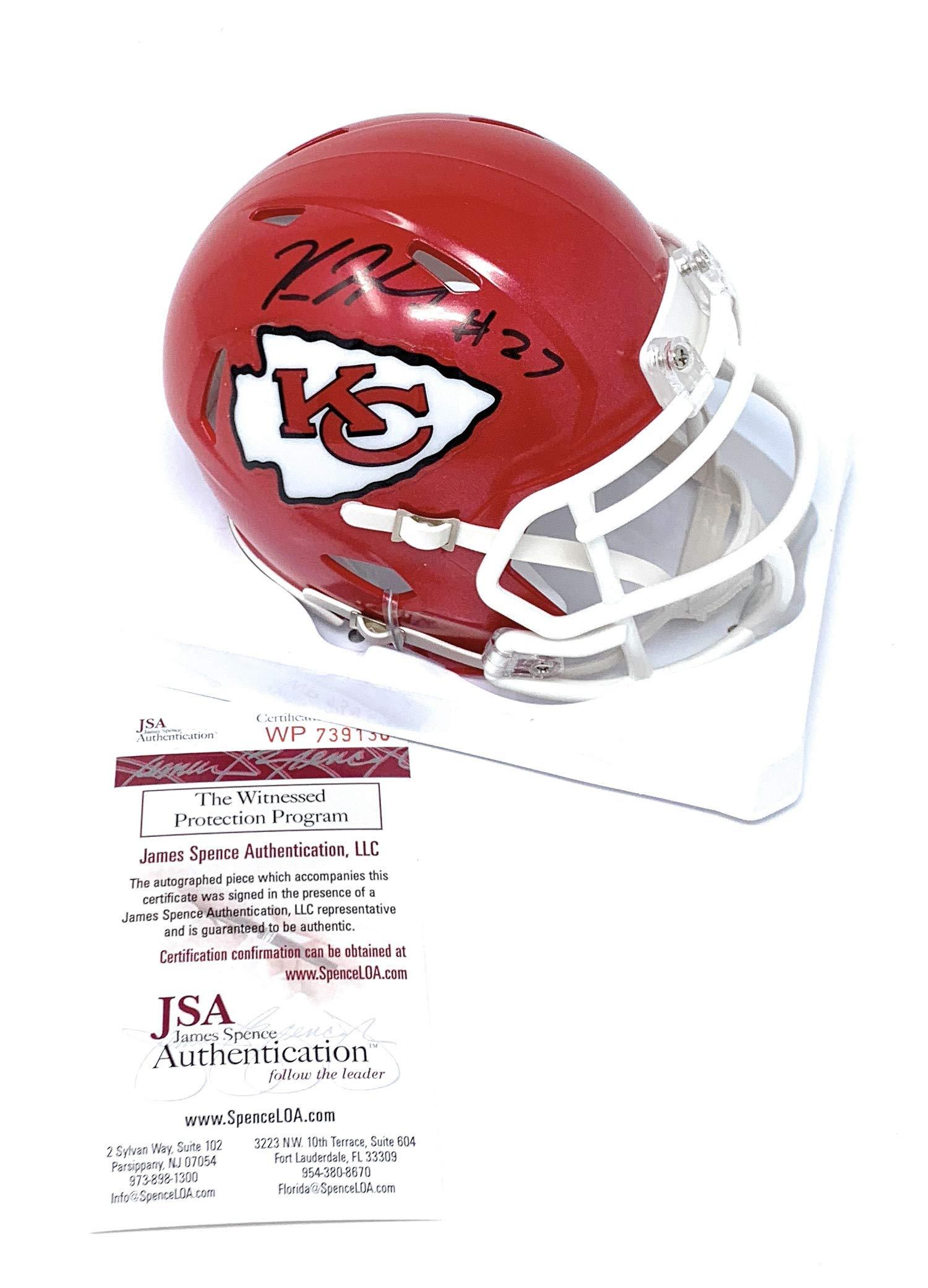 Kareem Hunt Kansas City Chiefs Signed Autograph Speed Mini Helmet Hunt Player Hologram JSA Witnessed Certified