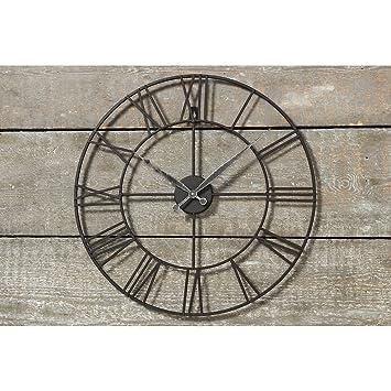 Wanduhr Wohnzimmeruhr Uhr In Filigraner Optik Aus Schwarzem Metall