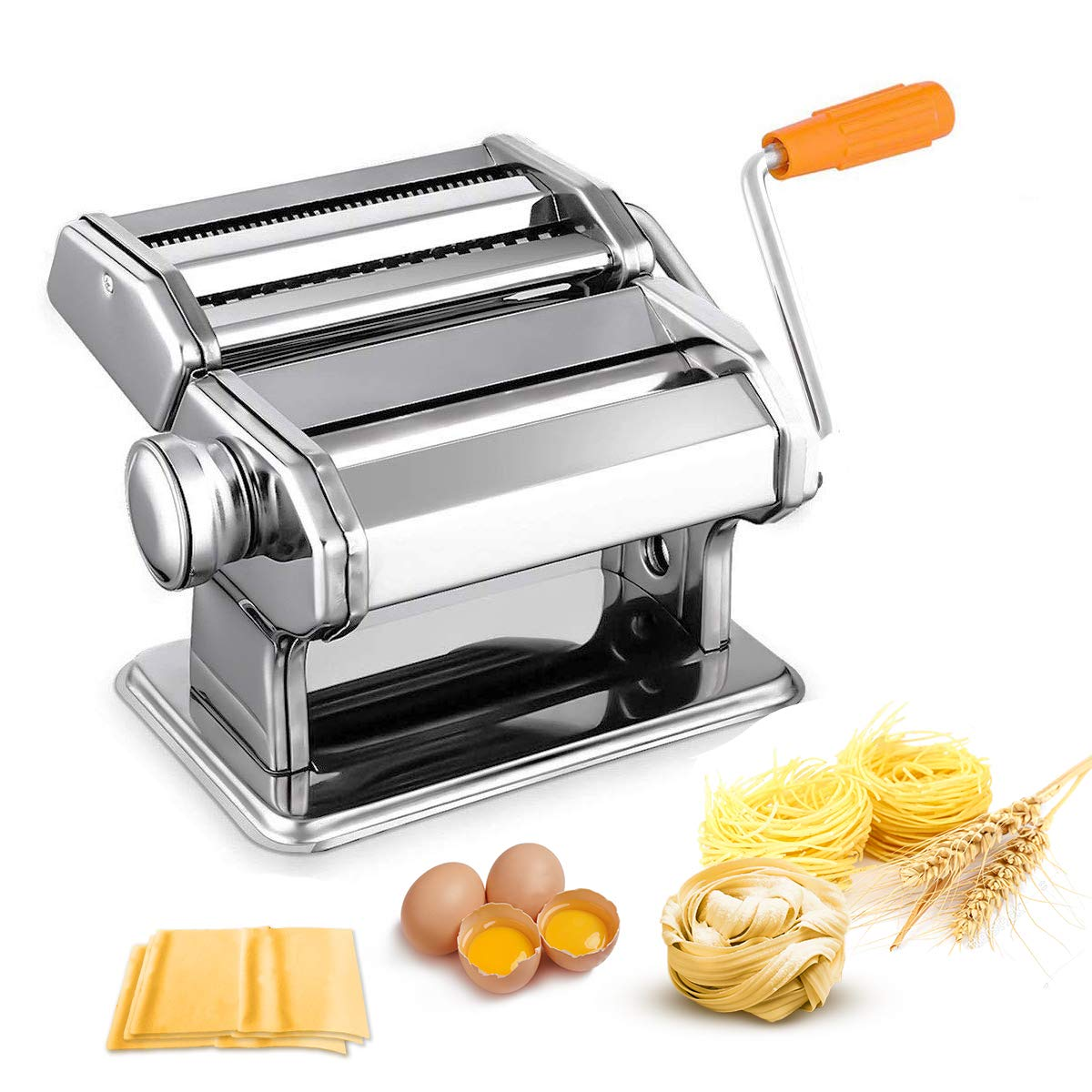 Pasta Maker Machine, Noeler Pasta Crank Stainless Steel Pasta Roller Machine,Manual Noodle Maker Pasta Cutters with 2 Blades,Make Fresh Spaghetti or Fettuccini by Noeler