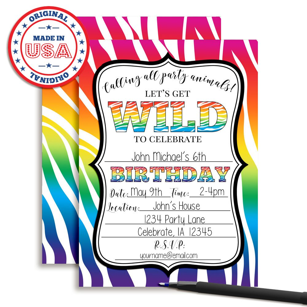 Rainbow Zebra Print Wild Birthday Party Invitations 20 5x7 Fill In Cards With Twenty White Envelopes By AmandaCreation Perfect For Teen And Tween