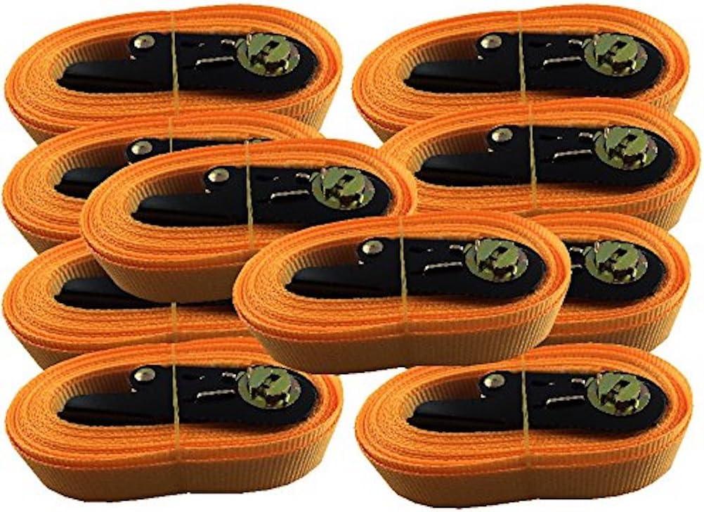 iapyx 10x Spanngurt Zurrgurt mit Ratsche 5 Meter EN Norm Farbe orange