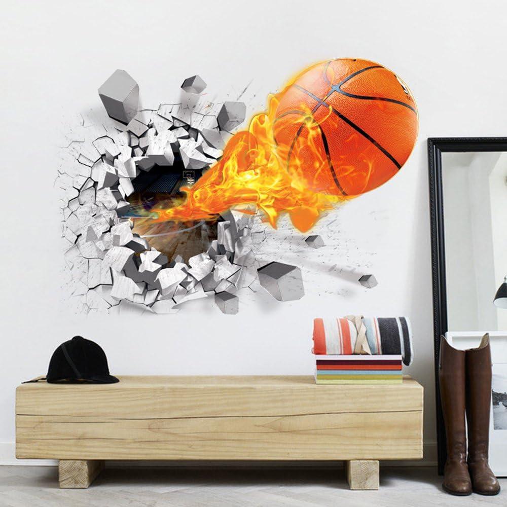 OLSR/® 3D f/útbol y fuego Atravesar la pared desmontable impermeable pegatina de pared Pegatinas Decorativas Adhesiva Pared Dormitorio Sal/ón Guarder/ía Habitaci/ón Beb/és Infantiles Ni/ños 01