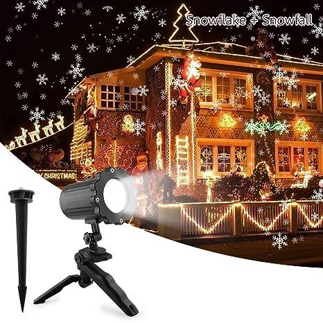 Proiettore Luci Natalizie Led.Unifun Proiettore Luci Natale Esterno Effetto Fiocco Di Neve Proiezione Lampada Led Impermeabile Illuminazione Giardino Rotante Faretti Per Natale