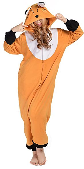 Sunrise Unisex Brown Fox Anime Pyjamas Kigurumi Onesie Halloween Costume (Small, Brown Fox)