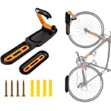 Bike Hook, Bicycle Hanger, Bike Wall Rack, Vertical&Folded Save Space, Heavy Duty Bike Wall Mount Holder, Easy to Install, Elastic Rubber Grip, Holds Up To 50 LB, Mountain Road Folding, Fits All Bike