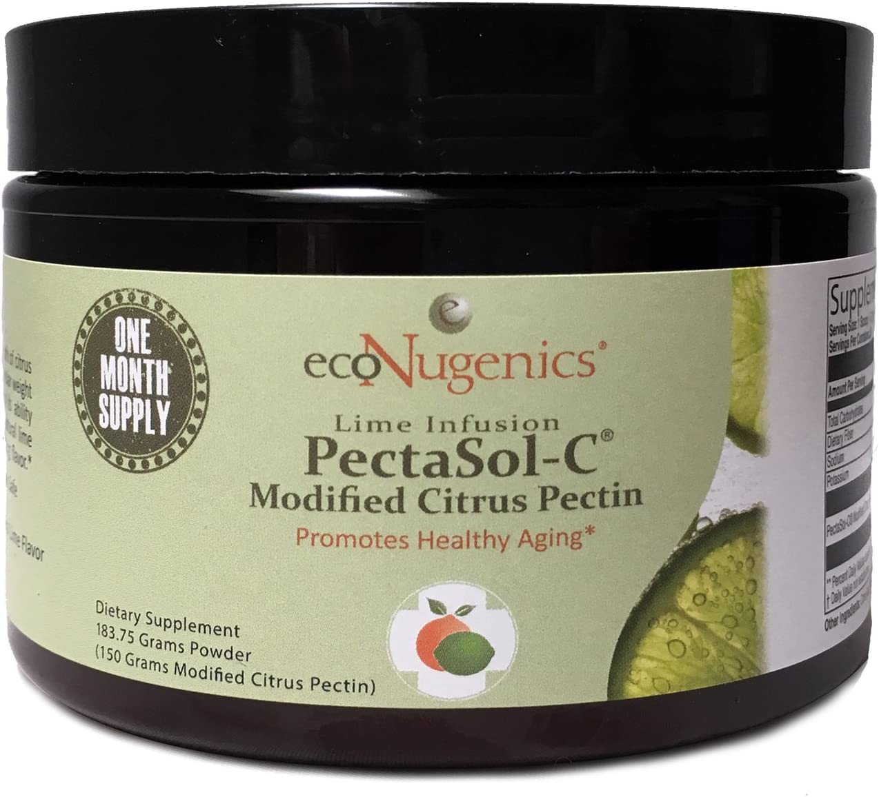 ecoNugenics PectaSol-C Modified Citrus Pectin Cellular Health and Immune System Supplement - Lime Infusion Powder 183.75 Grams - Maintain Healthy Galectin-3 Levels - Cardiovascular Support