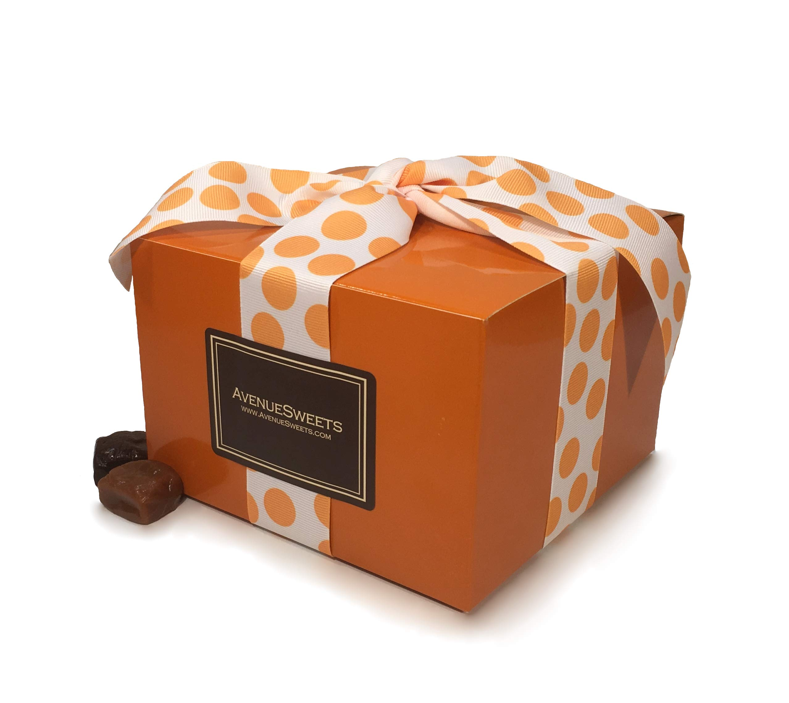AvenueSweets - Handcrafted Individually Wrapped Soft Caramels - Orange 1.5 lb Gift Box - Customize Your Flavors by AvenueSweets