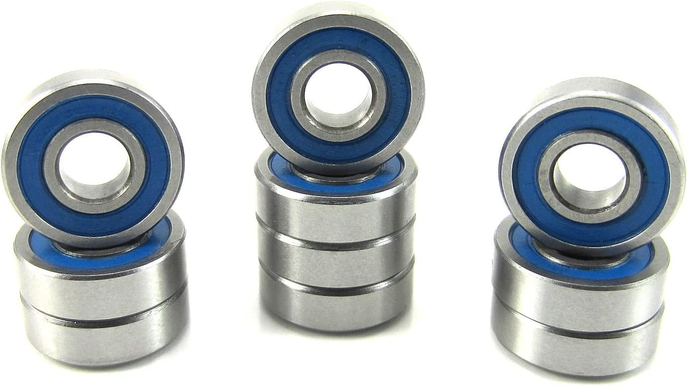 Rubber Sealed Ball Bearing Bearings 10pcs 695-2RS 5x13x4 mm Blue