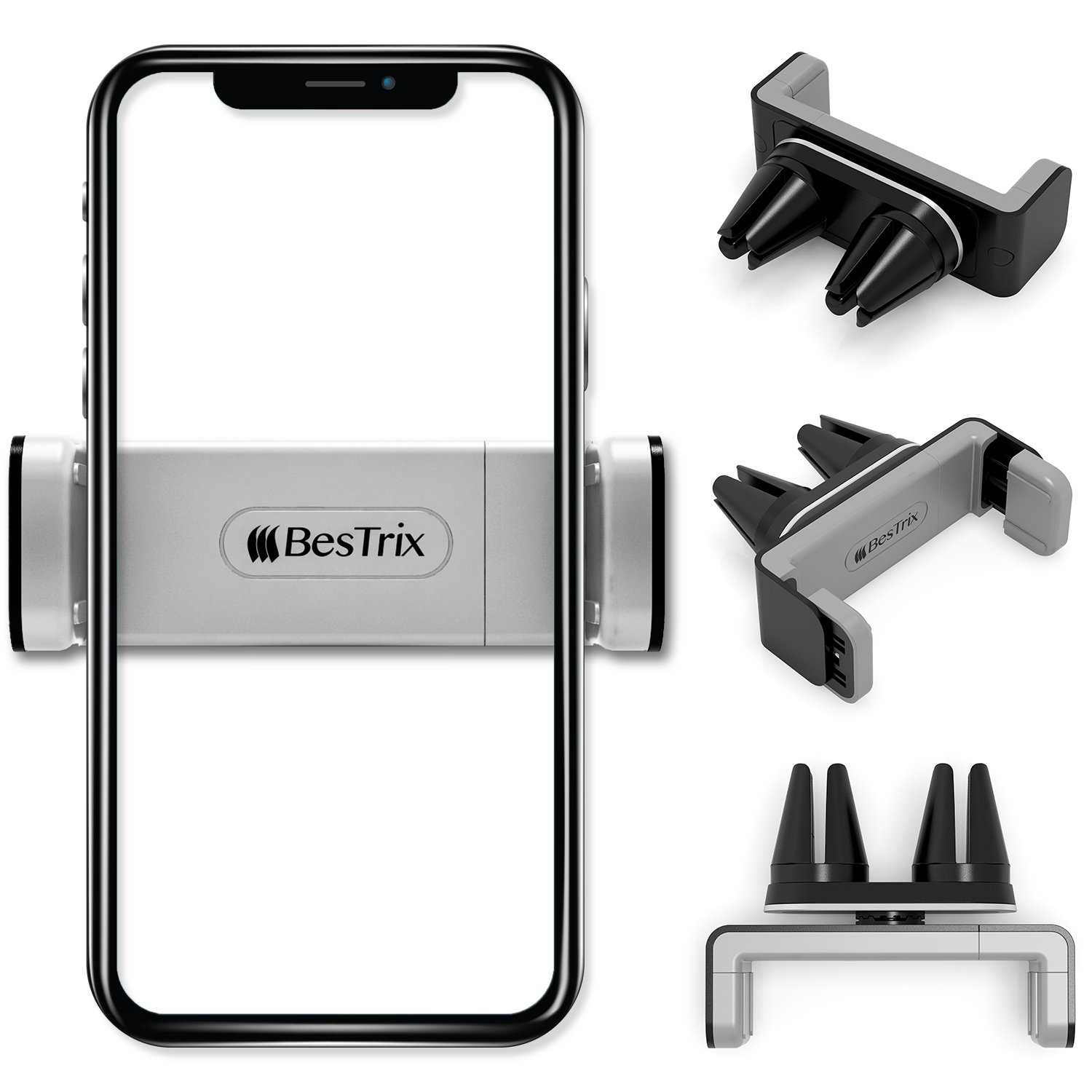 New Designed Air Vent Cell Phone Car Mount With Adjustable Size Up To 6'' | Secure Double Clamp Grip, Compact & Durable Holder For All Smartphones & iPhones (Grey) by BESTRIX