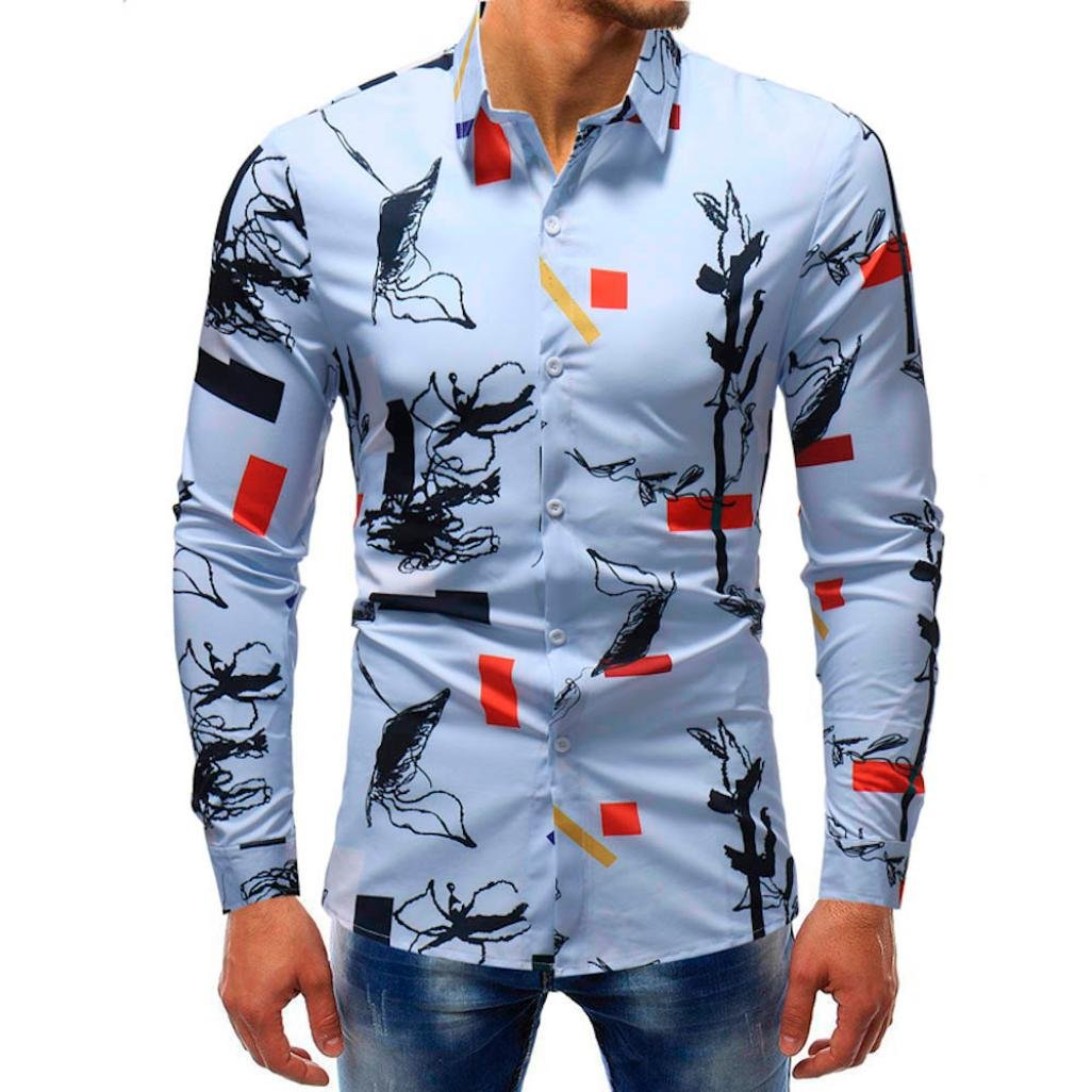 vermers Clearance Sale Mens Button Down Shirts - Men Fashion Printed Blouse Casual Long Sleeve Slim Shirts Tops(XL, Multicolor5)