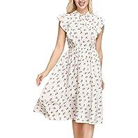 KANCY KOLE Women's Vintage Ruffle Floral Sleeveless Bow Tie A-Line Swing Midi Dress