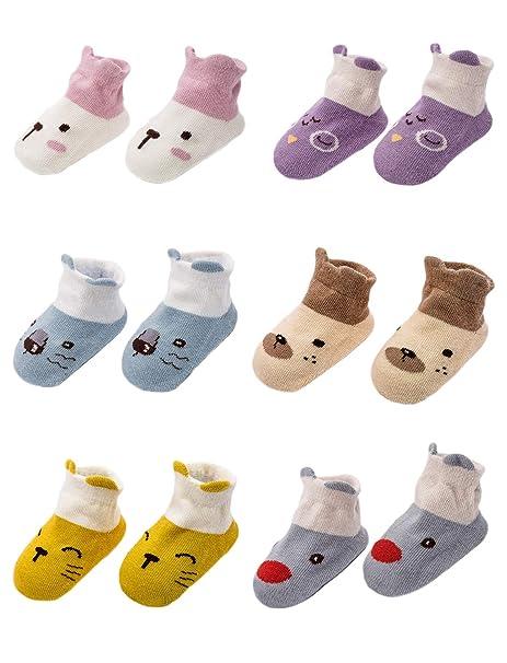 Adorel Calcetines Antideslizantes para Bebé paquete de 6 Multicolor 2-4 Años (M)