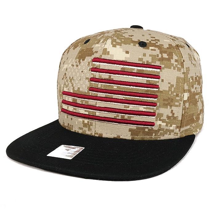 a19de78095f Armycrew USA American Flag Embroidered Flat Bill Snapback Cap - Digital  CAMO Black at Amazon Men s Clothing store