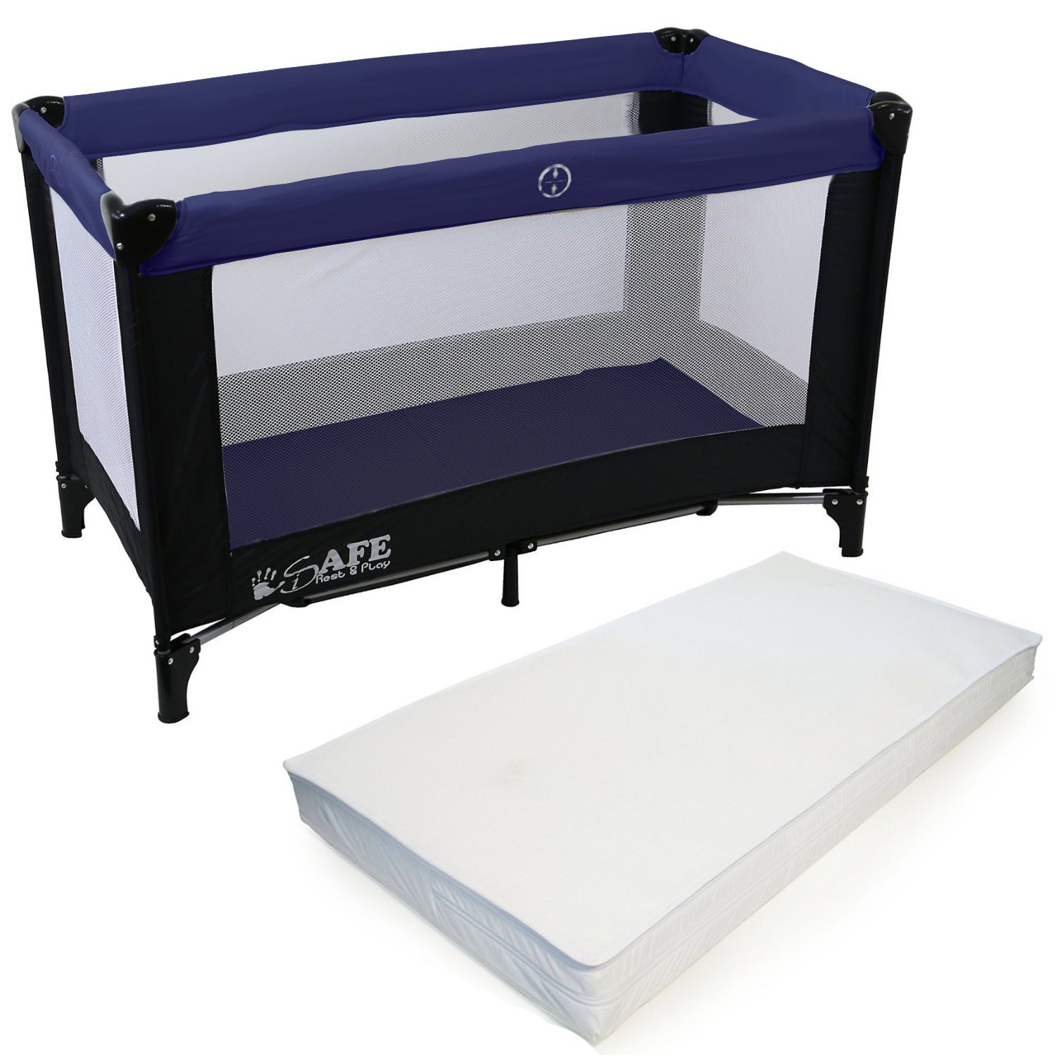 amazoncouk playpens  furniture baby products - isafe rest  play luxury travel cotplaypen  navy (blacknavy)  cm x cm complete with mattress