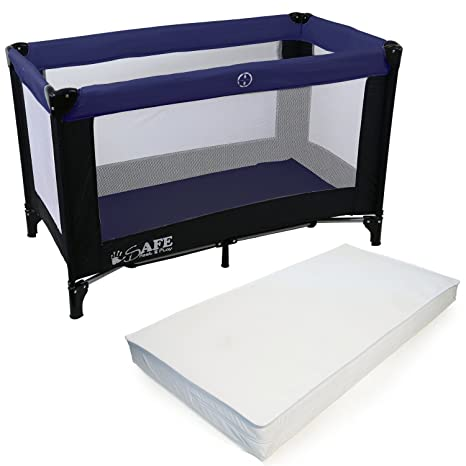 uk availability 0c270 2b3d3 iSafe Rest & Play Luxury Travel Cot/Playpen - Navy (Black/Navy) 120 cm x 60  cm Complete With Mattress