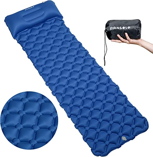 PANSOLE Camping Sleeping Pad with Pillow, Ultralight Comfy Inflatable Air Sleeping Mat for Camping, Hiking Tent, Backpacking