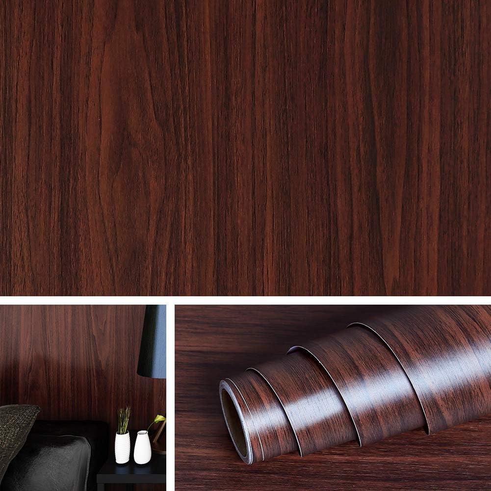 Livelynine Wood Wallpaper Stick and Peel 15.8x394 Inch Fadeless Paper Wood Wall Paper Sticker Wood Vinyl Adhesive Shelf Liner Kitchen Furniture Dining Room Decoration Wall Decor, Walnut Wood