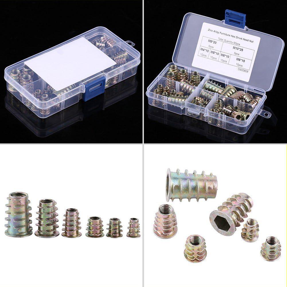 50pcs Wood Insert Nut Zinc Alloy Hex Socket Type D-Nuts Hex Drive Screw Threaded Insert Nuts Assortment Kit M4//M5//M6//M8//M10