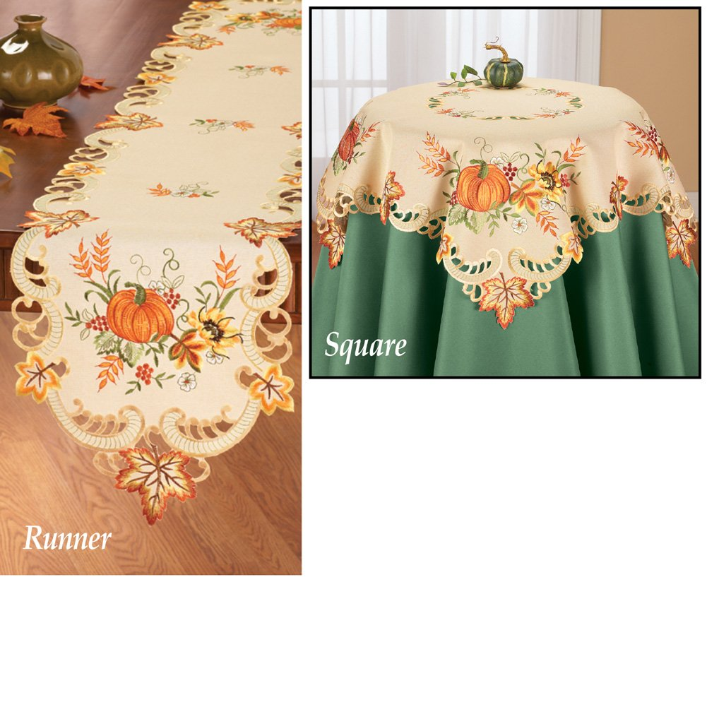 Collections Etc Fall Embroidered Pumpkin And Leaves Table Linens, Runner by Collections Etc (Image #3)