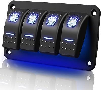 Jaimenalin 12V 35A Interruptor basculante LED luz antiniebla Barco Coche vehiculo Encendido-Apagado Tablero salpicadero Azul