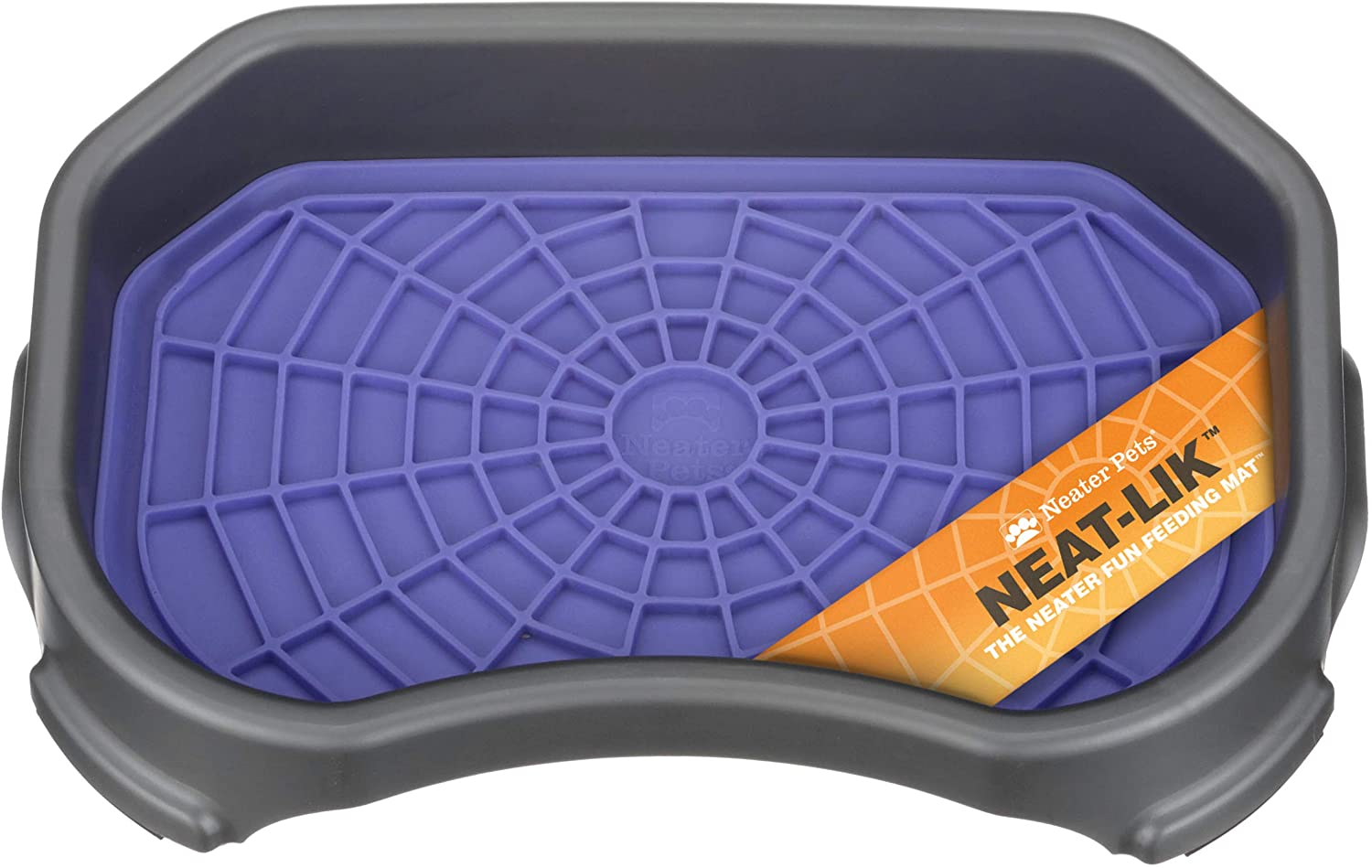 Neater Pets - Neat-LIK Mat with Mess-Proof Tray Keeps Floors Clean - Slow Feeding Lick Mat for Dogs & Cats - Relieves Anxiety & Cures Boredom - Fill Licking Pad with Treats & Food (Purple & Gunmetal)