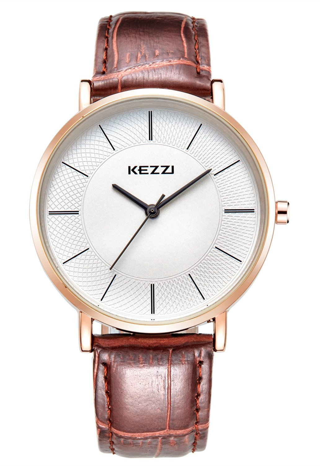 LYMFHCH Men's Minimalist Quartz Watch with Ultra-thin Rose Gold and Calf Brown Leather k738