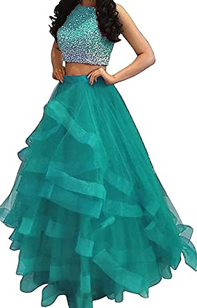 MARSEN Women Beaded Two Piece Prom Dress Long Organza Ruffles Evening Ball Gown Aqua Size 2