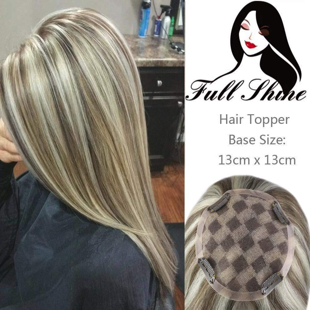 Full Shine Hair Crown Toppers For Women with Short Hair 14 inch Color #8 Highlighted Color #60 White Blonde Real Hair Extensions Clip in Hairpiece For Women with Loss Hair Free Part by Full Shine