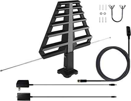 Amazon Com Antan Outdoor Antenna With Mounting Base For Attic Or Roof 33ft Rg6 Coax Cable 65 75 Miles Range Support 8k 4k 1080p Uhf Vhf Freeview Hdtv Channels Electronics