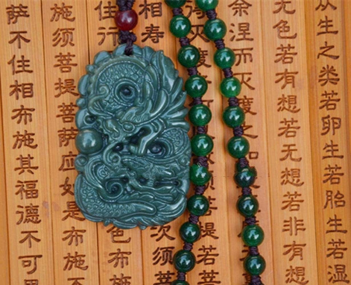 QEDS Hermoso Hecho a Mano Natural Verde Oscuro HeTian Jade Tallado dragón Amuleto de la Suerte Colgante joyería Fina Disponible