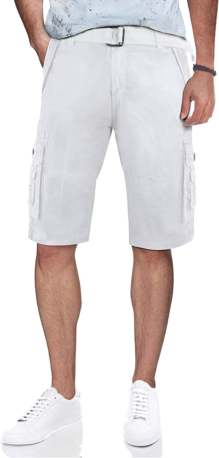 X RAY Mens Belted Tactical BDU Cargo Shorts Heavy Stitched Double Pockets Camo Solid Cargo Short for Men