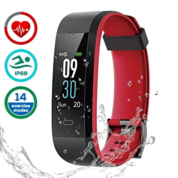 LATEC Pulsera de Actividad, Pulsera Inteligente Pantalla Color Reloj con Pulsómetro Impermeable IP68 Monitor de Ritmo Cardíaco Podómetro Deportiva Fitness ...