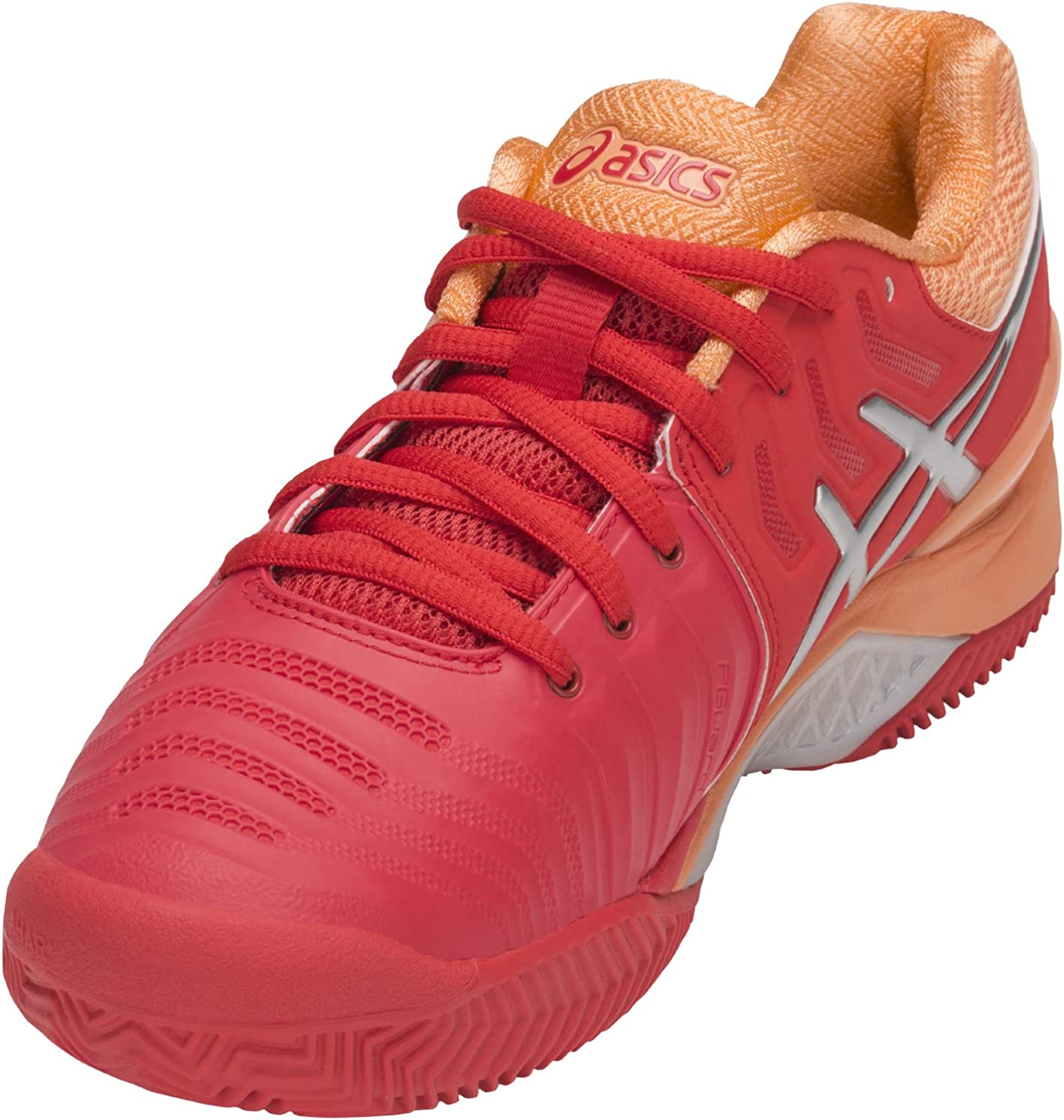 ASICS Damen Gel-Resolution 7 Clay Tennisschuhe, bleu Glacial/Argent/Blanc rouge flash/argent