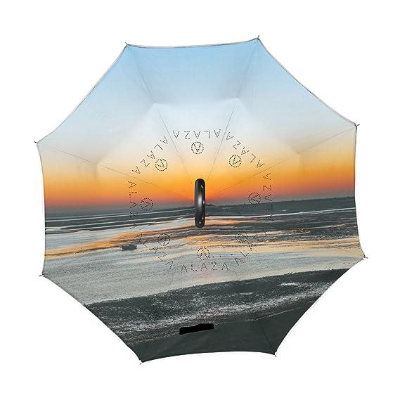 OREZI Paraguas reversible de doble capa invertido, plegable, protección contra el viento, gran recto, paraguas para coche lluvia al aire libre con mango en ...