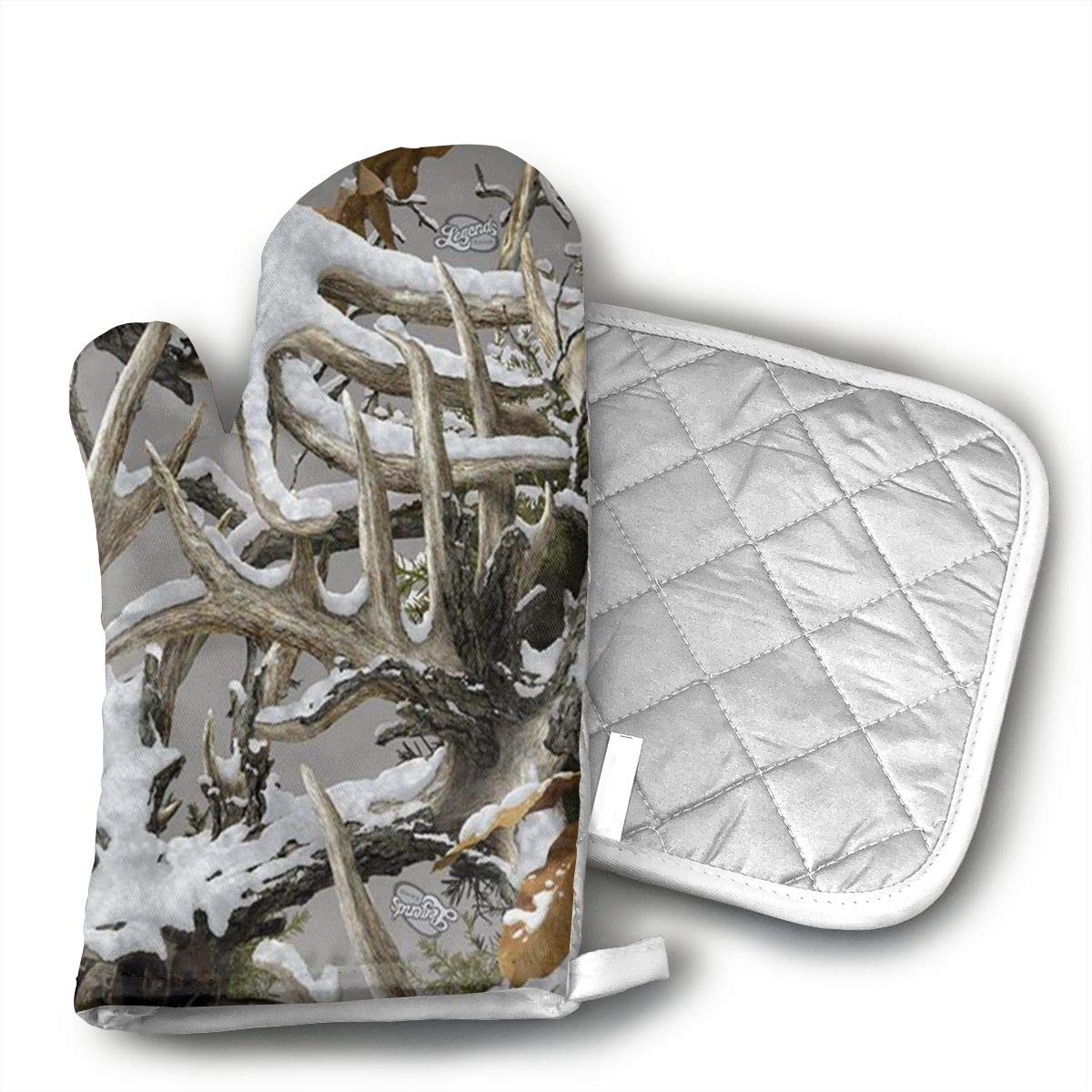 Realtree Camo Wallpapers Heat Resistant Hot Oven Mitts & Pot Holders for Kitchen Set With Cotton Neoprene Silicone Non-Slip Grip, Oven Gloves for BBQ Cooking Baking, Grilling, Machine Washable
