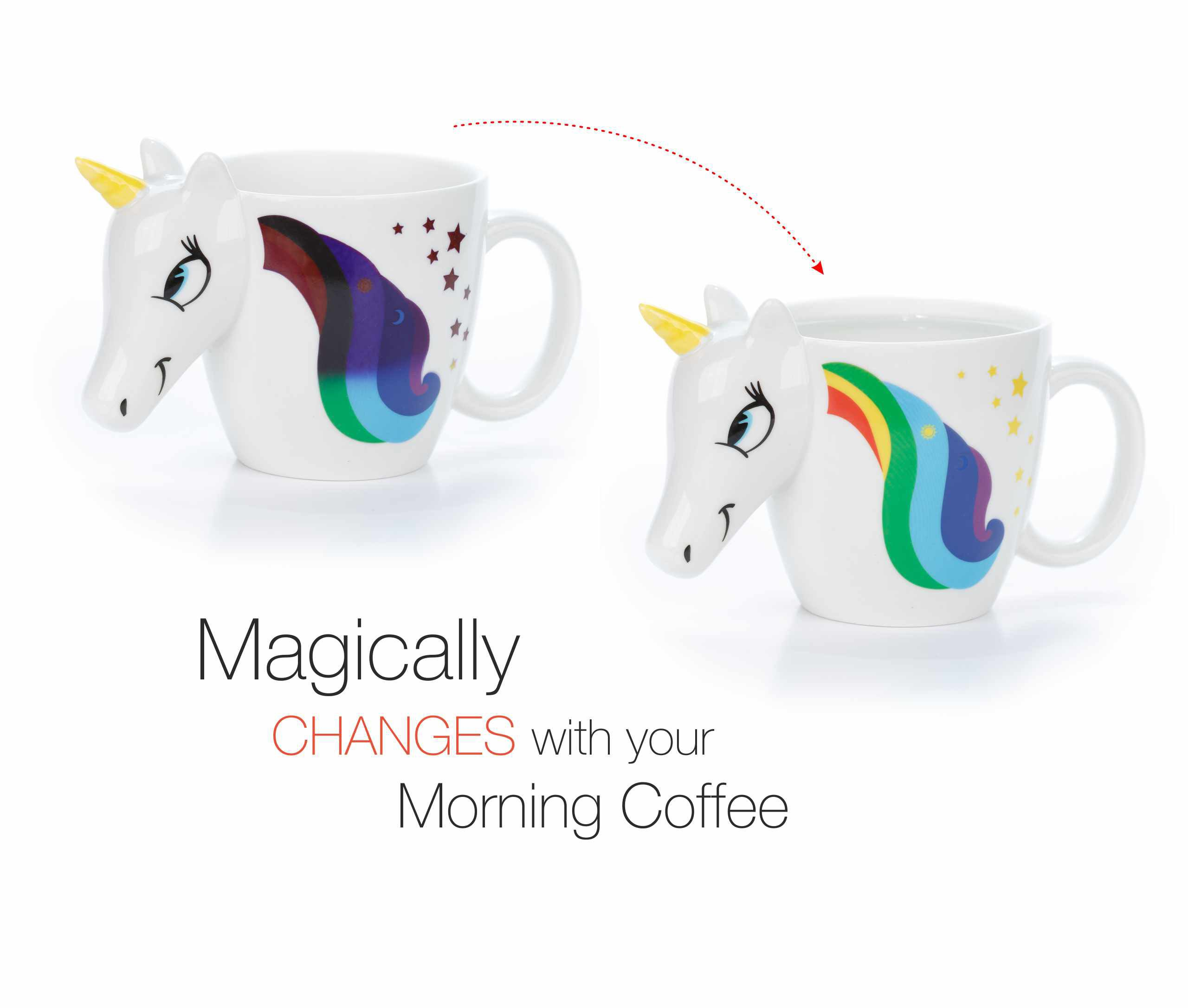 Color Changing Unicorn Mug - 3D Coffee Mugs Rainbow Design, Your morning cup of coffee or tea will never be the same… 3