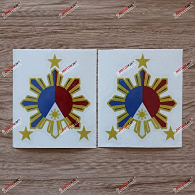 3S MOTORLINE 2X Reflective 4'' Eight-ray Sun Stars Philippines Flag Filipino Decal Sticker Car Vinyl: Automotive