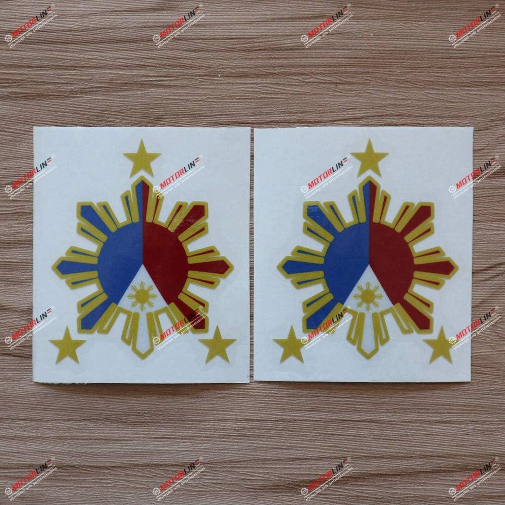 2X Silver 4 Philippines American USA Flag Sun Star Filipino Decal Sticker Car Vinyl no bkgrd