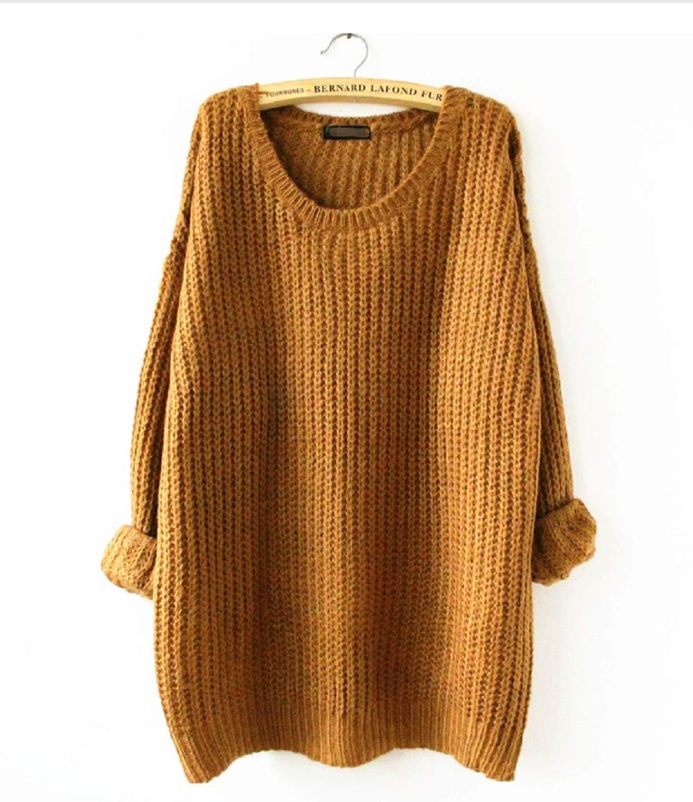 Women's Fashion Zhangzhiyua Oversized Crewneck Casual Knitted shQdrCBoxt