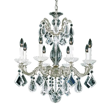 Schonbek 5473-48 Swarovski Lighting La Scala Rock Crystal Chandelier,  Antique Silver - Schonbek 5473-48 Swarovski Lighting La Scala Rock Crystal Chandelier