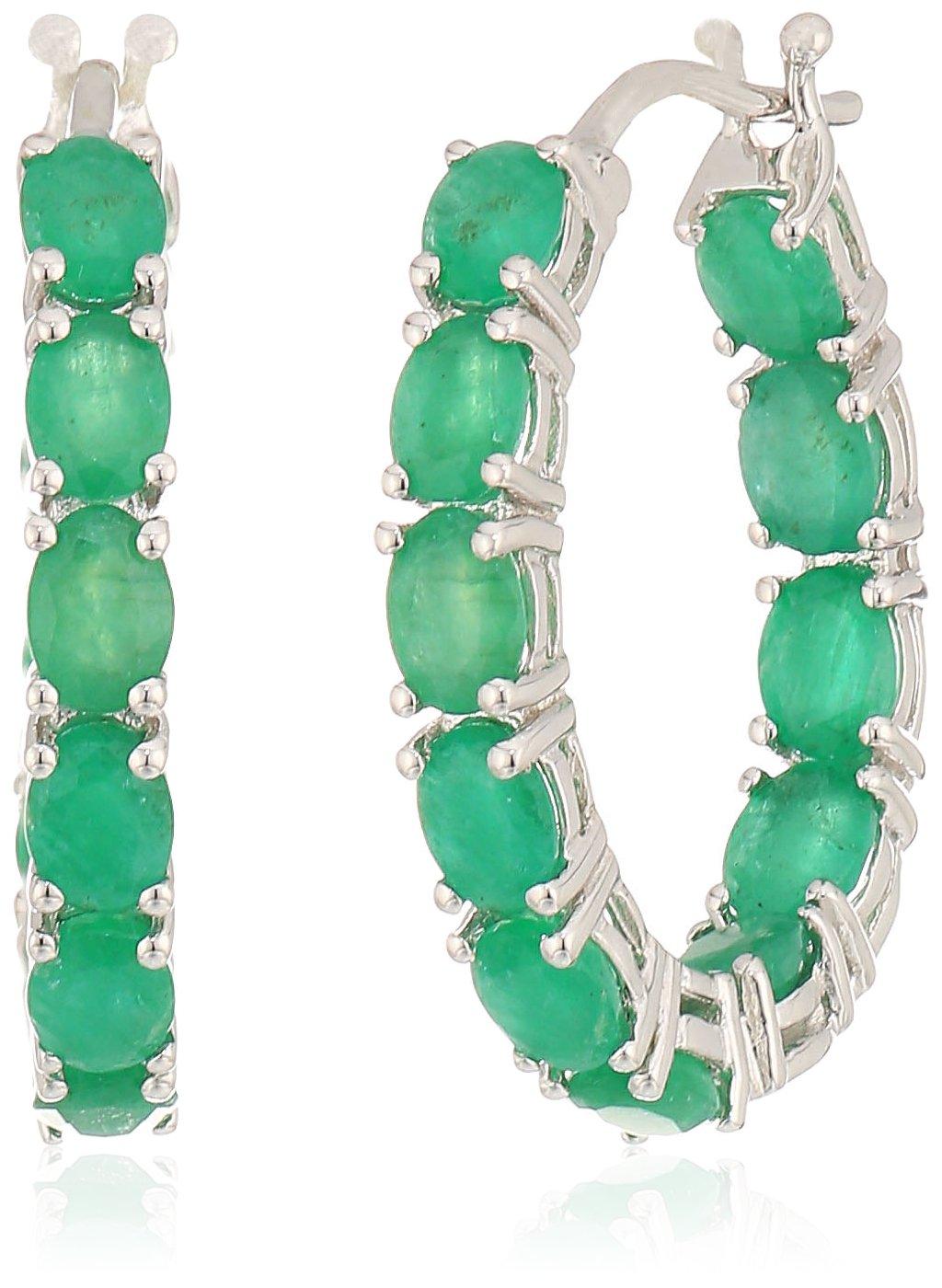 Sterling Silver Genuine Emerald Oval Inside Out Hoop Earrings, 0.75''