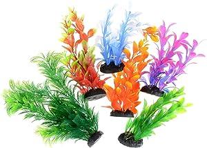 Saim Artificial Aquarium Plants Plastic Décor Fish Tank Ornament Decorations Assorted Color, 6 Pcs