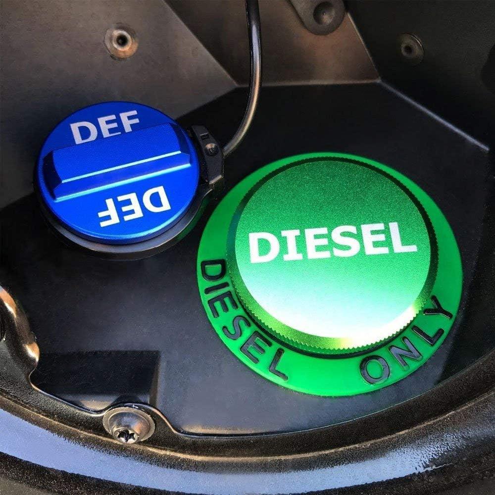Diesel-Tankdeckel f/ür Dodge-Magnetic Green Diesel-Tankdeckel und nicht magnetischer blauer DEF-Deckel f/ür 2013-2018 Dodge Ram Diesel Trucks 1500 2500 3500 Billet Aluminium-Tankdeckel-Kombipack