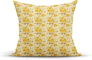 ETHAICO Creative Damask Sweet Flowers English Garden Cute Romantic Art,Throw Pillow Covers 18 x 18 Inches Pillow Custom Zippered Square Pillowcase for Sofa Couch Decorations